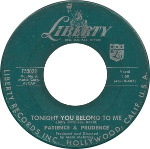 1956 Tonight You Belong to Me-Patience and Prudence-Liberty F55022