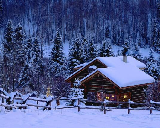 winter home, with snow and fence (night)
