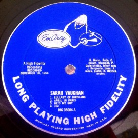 1954 Sarah Vaughan LP, EmArcy MG-36004 (side A)