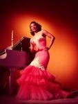 Dorothy Dandridge-53-mermaid gown_Zelda Wynn Valdes with tiered ruffle skirt-red-1