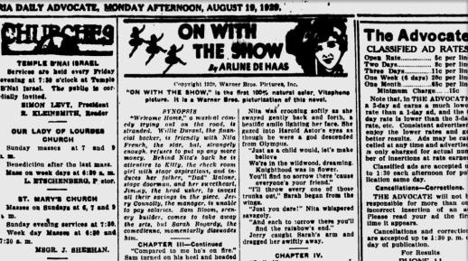 On With the Show (1929) Arline de Haas novelization segment, partial-Victoria (Texas) Advocate, 19 August 1929-ss1-c1a