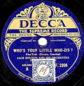 1932 Who's Your Little Who-Zis-Jack Hylton and his Orchestra-Decca (UK) F.2904-(1-75p)