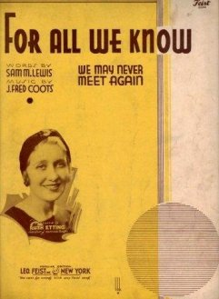 1934 For All We Know (Coots, Lewis) sheet music, Ruth Etting-1a