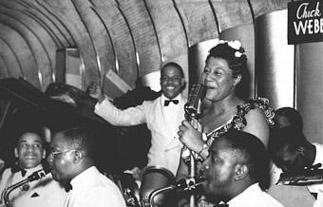 Chick Webb-rear-Ella Fitzgerald mid 1930s-1