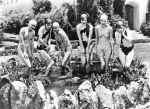 Footlight Parade-33-chorus girls-pose in Warner Bros lotfountain-2