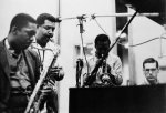 John Coltrane, Cannonball Adderley, Miles Davis, and Bill Evans rehearse in 1958