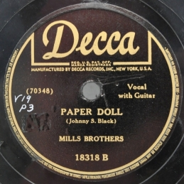 1942 Paper Doll (Johnny S. Black) Mills Brothers, Decca 18318 B