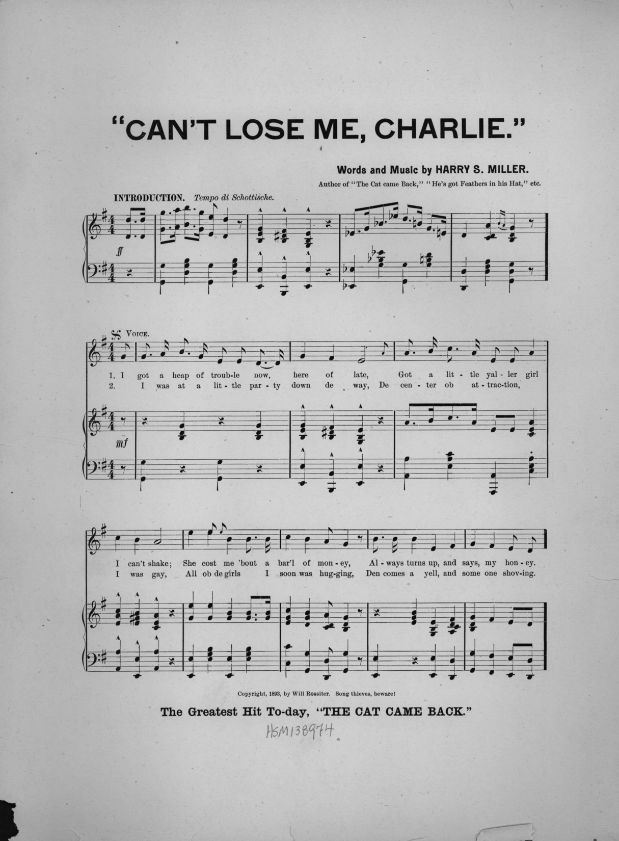 Cant lose me charlie 1893 sheet music songbook fandeluxe Choice Image