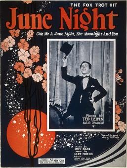 1924 June Night (Abel Baer, Cliff Friend) sheet music, featured artist Ted Lewis-1