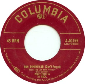 1954 Non Dimenticar (Don't Forget)-Percy Faith-Columbia 4-40155