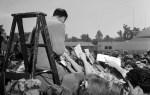 Frank Sinatra-11 August 1943-Pasadena train station fans at arrival-2 (sits on RKO grip dept. ladder)