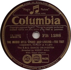 1936 The Music Goes 'Round and Around-B.B.C. Dance Orchestra, dir. Henry Hall-Columbia (UK) FB 1288-d20-sh20