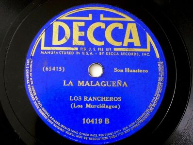"La Malagueña-Los Rancheros-recorded on 17 April 1939; issued on the single Decca 10419, as the B-side of ""Ahora seremos felices"""