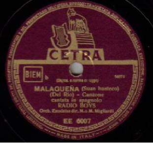 1950 Malagueña, Radio Boys, Cetra EE 6007 (1)