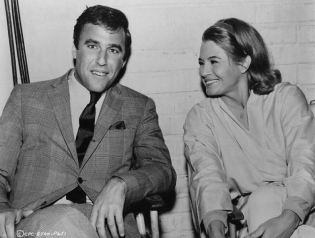 Bacharach and Dickinson, 1966, on set of The Chase-1