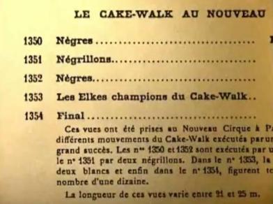 Le Cake-Wak au Nouveau Cirque, Lumière films 1350-1354 index, old film catalog