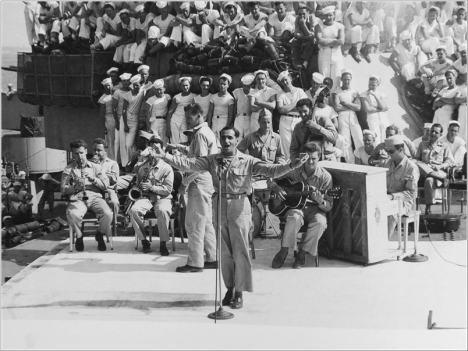 Irving Berlin sings on USS Arkansas_1944_1a