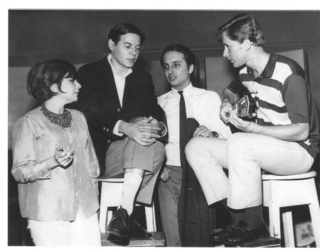 Sylvia Telles, Tom Jobim, Roberto Menescal, and Marcos Valle at RCA Victor Studios, c.1964
