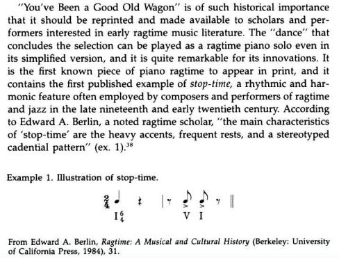 Ben Harney, William H. Tallmadge, stop-time innovations in Good Old Wagon, p. 174 (1)-c1