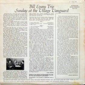 Sunday at the Village Vanguard, Bill Evans Trio, Riverside RLP 376 (back)