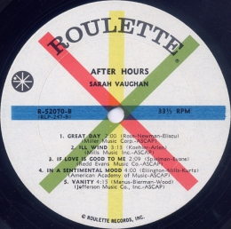 1961 After Hours-Sarah Vaughan-Roulette Records-R-52070, label (side B)