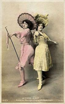 Les Soeurs Pérès (Jeanne and Nina)-c.1903 cakewalk postcard series 143-3-tinted (sm)-a