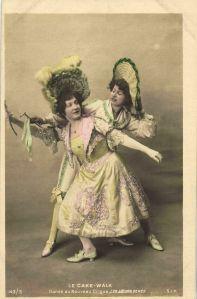 Les Soeurs Pérès (Jeanne and Nina)-c.1903 cakewalk postcard series 143-5 (2, tinted)-d6-hx6-s1