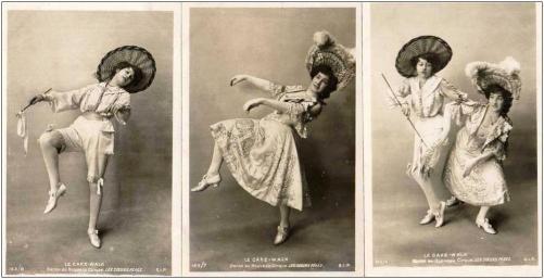 Les Soeurs Pérès (Jeanne and Nina)-c.1903 cakewalk postcard series 143-6,7,8-f15-c1