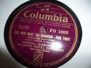 1938 Bei Mir Bist du Schoen-Carroll Gibbons-Columbia (UK) FB 1885