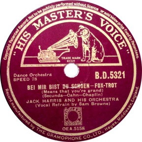 1938 Bei Mir Bist Du Schoen-Jack Harris and his Orchestra-HMV (UK) B.D.5321