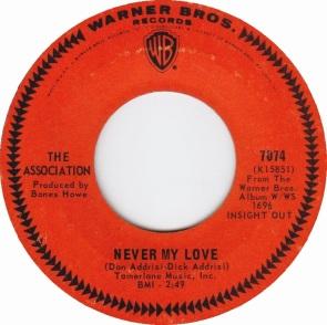 1967 Never My Love-Association-Warner Bros. 7074