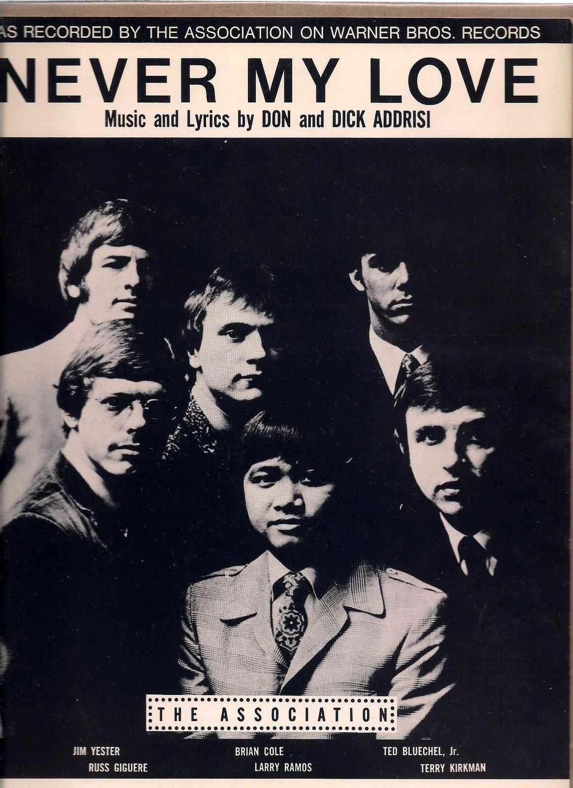 Myd Loves Classic Wedding Nails: The Association, 1967, Sheet Music Cover