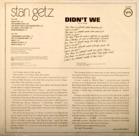 1969 Didn't We- Stan Getz-Verve Records V6-8780 (back)-1a