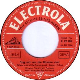 1962 Sag mir wo die Blumen sind-Marlene Dietrich-(Germany) Electrola E 22 180-label, side one