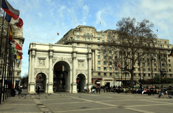 Marble Arch in London, Spring 2013, with raised area at right
