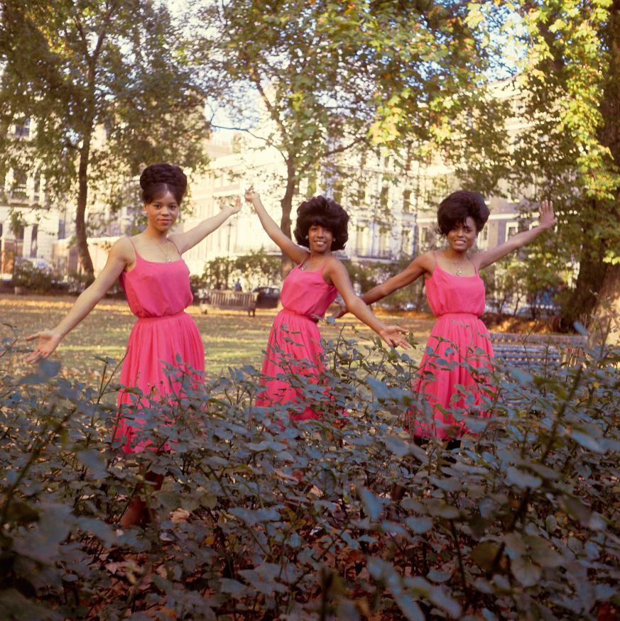 Supremes, October 1964, Manchester Square, London (2)--Posed group portrait L-R Florence Ballard, Mary Wilson and Diana Ross (Photo by RB/Redferns)
