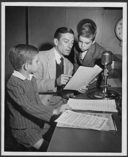 Hoagy Carmichael, with sons Randy and Hoagy Bix Carmichael at CBS studios for The Hoagy Carmichael Show, Los Angeles, 1946