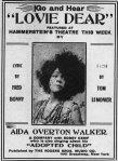 Aida Overton Walker- ad for Lovie Dear, New York Age, 31 August 1911, p. 6(cpy1)